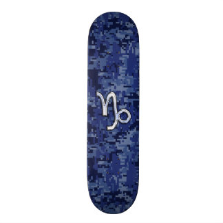 Capricorn Zodiac Symbol on Blue Digital Camo Skateboard Deck