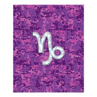 Capricorn Zodiac Symbol on Fuchsia Digital Camo Flyer