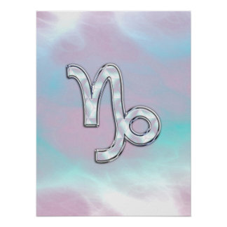 Capricorn Zodiac Symbol on Mother of Pearl Decor Poster