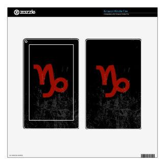 Capricorn Zodiac Symbol (red on black) Skins For Kindle Fire