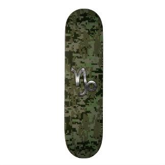 Capricorn Zodiac Symbol Woodland Camouflage Skateboard Deck