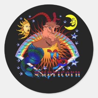 Capricorn-Zodiac-V-1 Pegatina Redonda