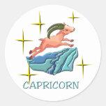 Capricornio 3 (estrellas) pegatina redonda