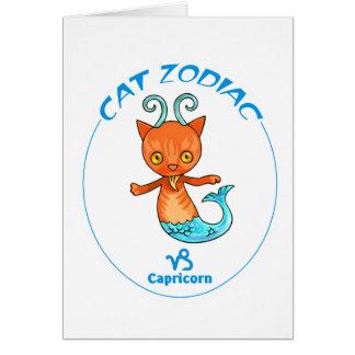 Capricornio de los gatos del zodiaco tarjeta pequeña