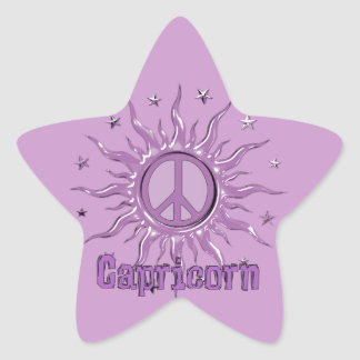 Capricornio de Sun de la paz Pegatina En Forma De Estrella