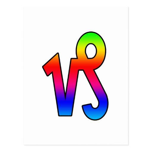 Capricornio del arco iris tarjetas postales