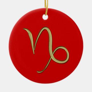 Capricornio del oro adorno navideño redondo de cerámica