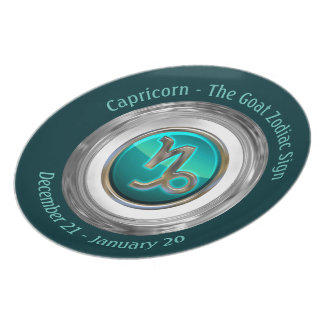 Capricornio - la muestra astrológica de la cabra platos