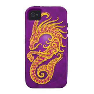 Capricornio tribal púrpura y amarillo complejo iPhone 4/4S carcasas