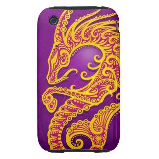Capricornio tribal púrpura y amarillo complejo, tough iPhone 3 protector