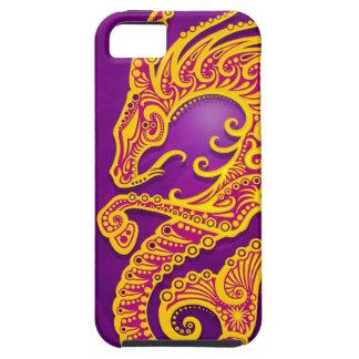 Capricornio tribal púrpura y amarillo complejo, iPhone 5 carcasas