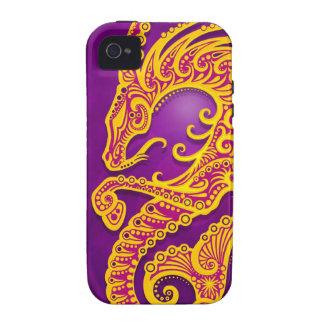 Capricornio tribal púrpura y amarillo complejo, iPhone 4/4S fundas