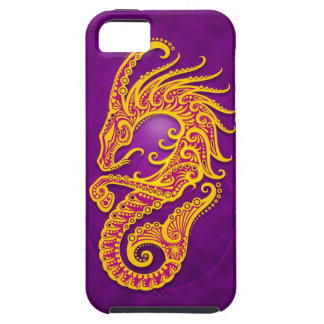 Capricornio tribal púrpura y amarillo complejo funda para iPhone 5 tough