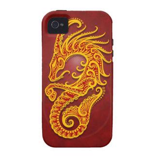 Capricornio tribal rojo de oro complejo iPhone 4/4S fundas