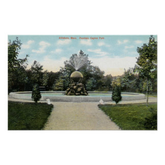 Capron Park View of the Fountain Poster