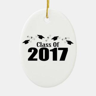 Caps And Diplomas Class Of 2017 (Black) Ceramic Ornament