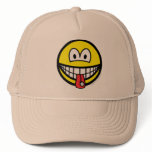Tongue stud smile   caps_and_hats