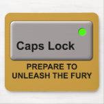 Caps Lock Fury Funny Mousepad Mouse Pad Humor