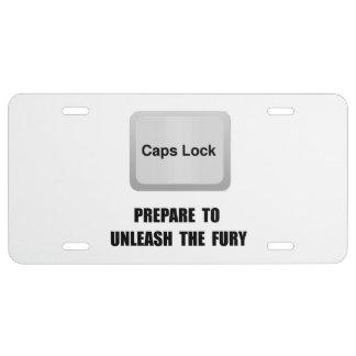 Caps Lock License Plate