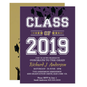 Caps Off Class Of 2019 Purple And Gold Grad Party Invitation