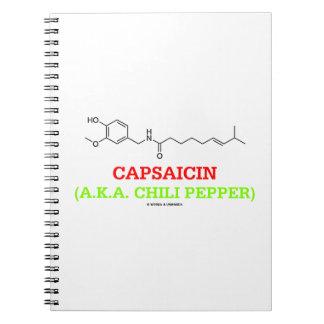 Capsaicin (A.K.A Chili Pepper) Chemical Molecule Spiral Notebook