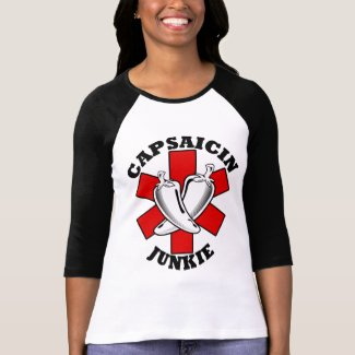 Capsaicin Junkie Pepper Shirt $22.95 Ladies Raglan shirt