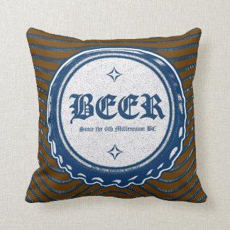 Cápsula Cerveza-Azul Cojín Decorativo