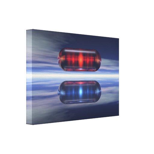 Cápsulas en espacio impresión en lona estirada