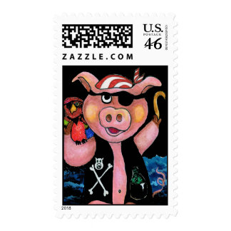 Capt. Bacon Pirate Pig & His Parrot Postage Stamp