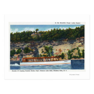 Capt. Palmers Lake Ride Stroller IV Boat Scene Postcard
