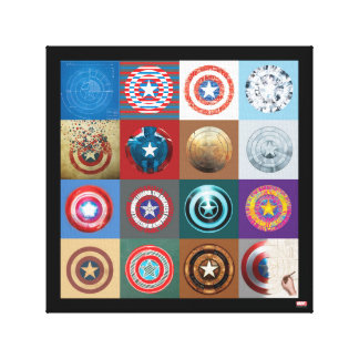 Captain America 75th Anniversary Shield Patchwork Canvas Print
