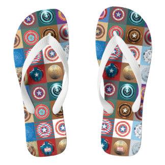 Captain America 75th Anniversary Shield Patchwork Flip Flops