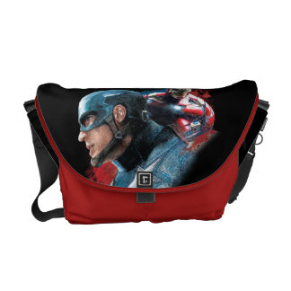Captain America And Iron Man Painting Messenger Bag