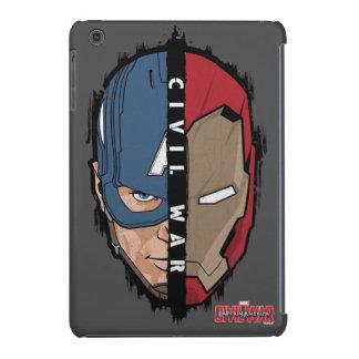 Captain America And Iron Man Split Face iPad Mini Retina Case