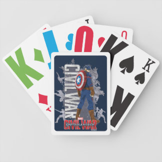 Captain America Civil War Teams Silhouette Bicycle Playing Cards