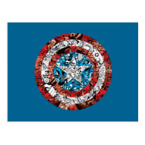 Captain America Comic Patterned Shield Postcard