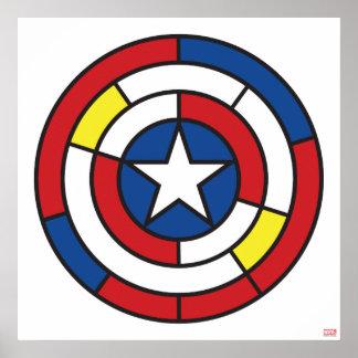 Captain America De Stijl Abstract Shield Poster
