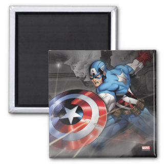 Captain America Deflecting Attack 2 Inch Square Magnet