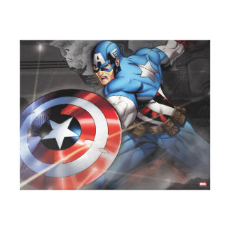 Captain America Deflecting Attack Canvas Print