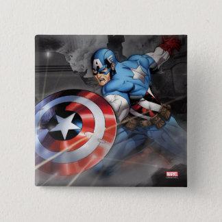 Captain America Deflecting Attack Pinback Button