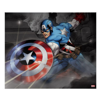 Captain America Deflecting Attack Poster