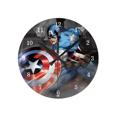 Captain America Deflecting Attack Round Clock