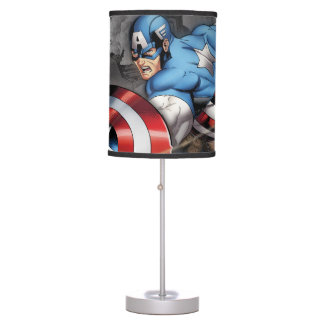 Captain America Deflecting Attack Table Lamp