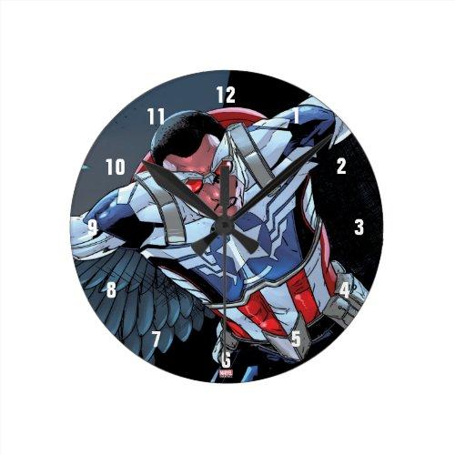 Captain America Fighting Crime Round Clock