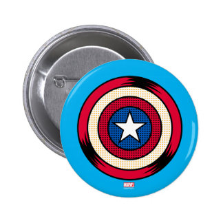 Captain America Halftone Shield Button