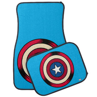 Captain America Halftone Shield Car Mat