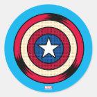 Captain America Halftone Shield Classic Round Sticker