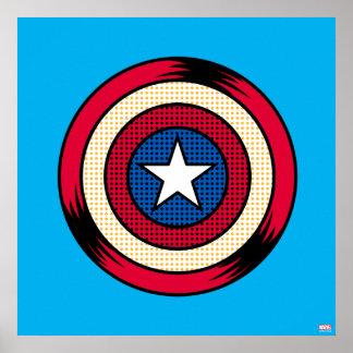 Captain America Halftone Shield Poster