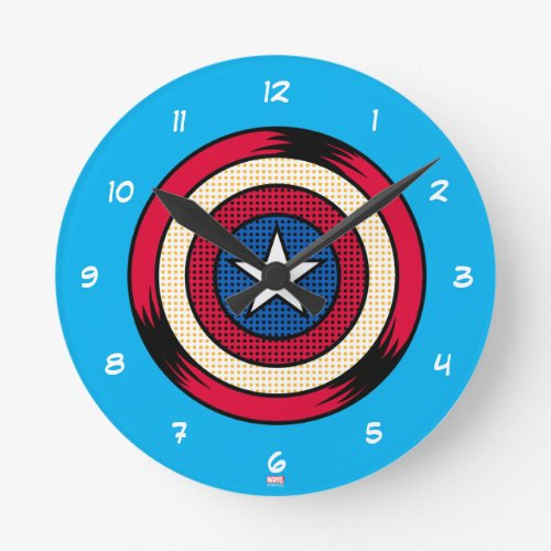 Captain America Halftone Shield Round Clock