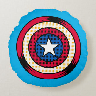 Captain America Halftone Shield Round Pillow